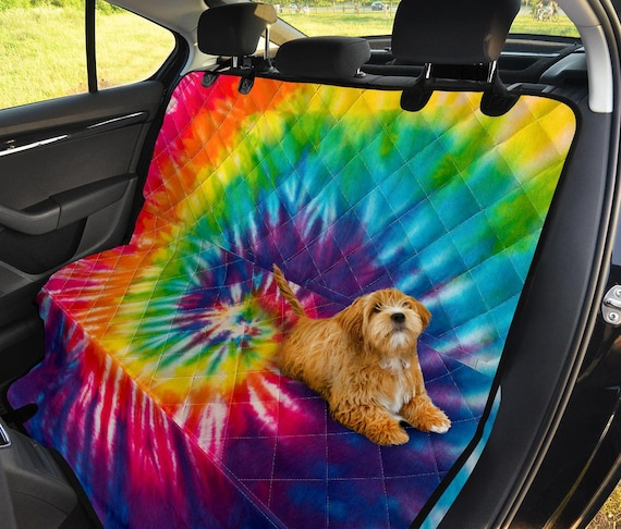 Console Armrest Cover Universal Seat Belt Covers for Adults Bucket Seat Cover with Armrest Waterproof Washable WELLFLYHOM Tie Dye Rainbow Car Seat Cover Set with Steering Wheel Cover Set of 6