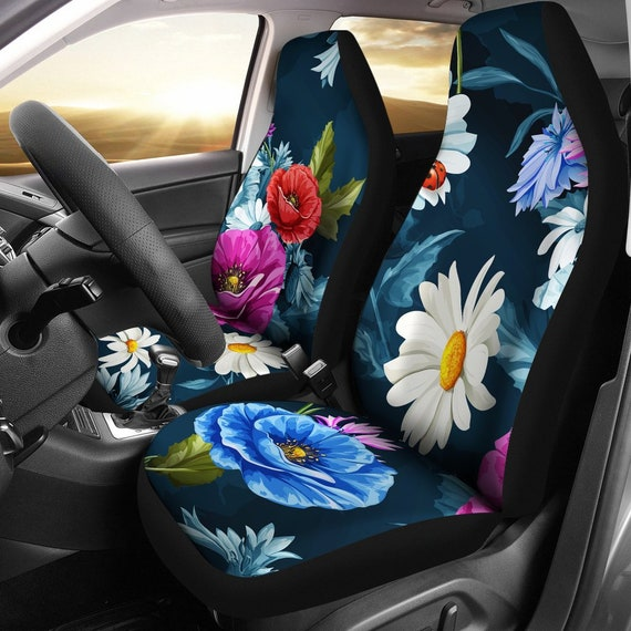 Colorful Floral Flowers Navy Blue Car Seat Covers Pair 2 Etsy