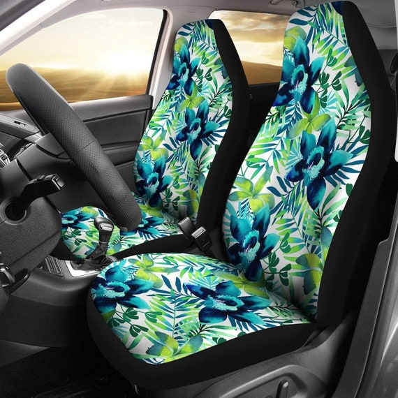 Incredible Light Green Floral Flowers Car Seat Covers Pair 2 Front Car Seat Covers Seat Cover For Car Car Seat Protector Car Accessory Ibusinesslaw Wood Chair Design Ideas Ibusinesslaworg