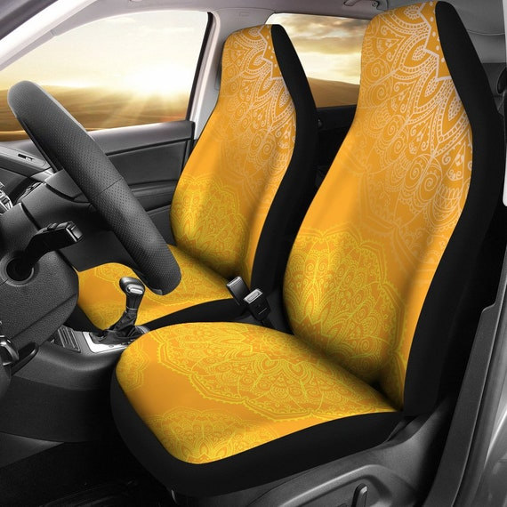 Orange Mandalas Car Seat Covers Pair 2 Front