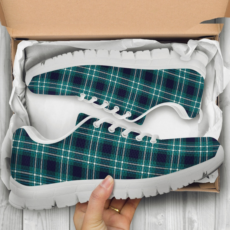 486a77739 Green Plaid Pattern Sneakers, Running Shoes, Training Shoes, Custom Shoes,  Low Top Shoes, Casual Shoes, Mens, Womens, Children Kids Shoes