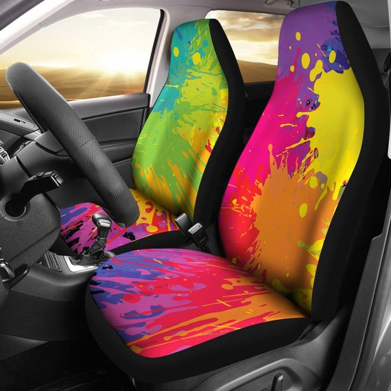 Colorful Paint Splatter Car Seat Covers Pair 2 Front