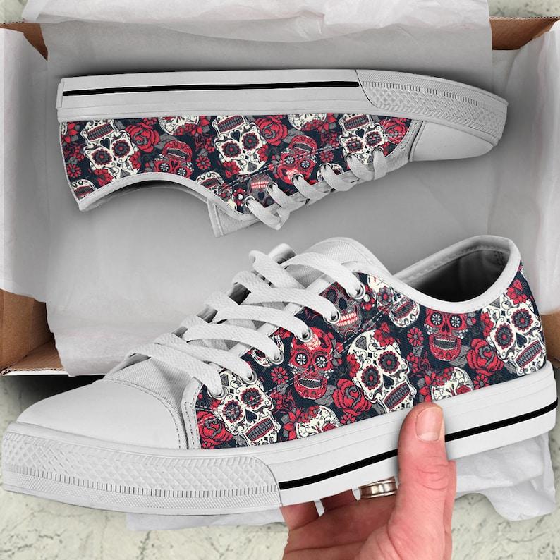 Sugar Skulls Roses Black Low Top Shoes Sneakers  Casual image 0