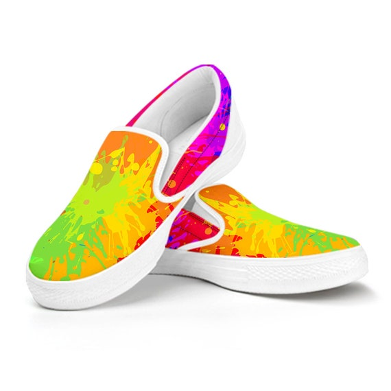 Womens Custom Shoes Comfortable Shoes Colorful Boho Chic Bohemian Aztec Streaks Casual Slip on Shoes Mens Kids Day Shoes Canvas Shoes