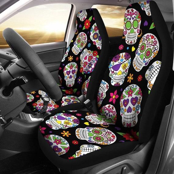 Surprising Sugar Skulls Car Seat Covers Pair 2 Front Car Seat Covers Seat Cover For Car Car Seat Protector Car Accessory Dark Skulls Machost Co Dining Chair Design Ideas Machostcouk