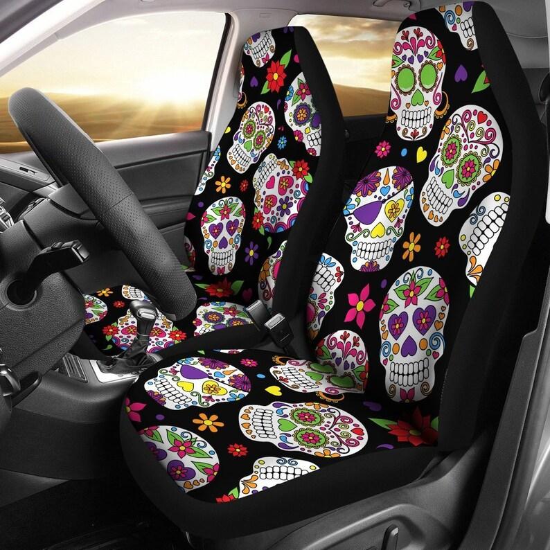 Admirable Sugar Skulls Car Seat Covers Pair 2 Front Car Seat Covers Seat Cover For Car Car Seat Protector Car Accessory Dark Skulls Evergreenethics Interior Chair Design Evergreenethicsorg