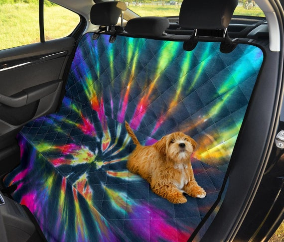 SEANATIVE 2pcs Comfortable Car Safety Seat Belt Rainbow Colorful Tie Dye Shoulder Pads Cover Cushion Harness Pad