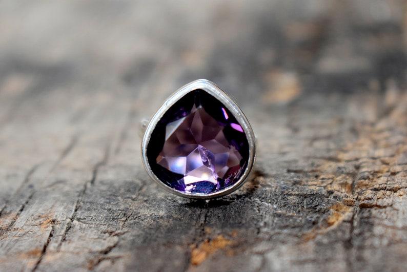 Amethyst ring gemstone ring A363 handmade ring Amethyst Quartz ring solid sterling silver ring