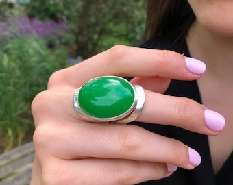 Green Agate Ring, Agate Ring, Natural Green Agate, Taurus Birthstone, Large Oval Ring, Green Vintage Ring, Green Ring, Solid Silver Ring