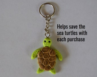Sea Turtle Keychain, Saves the Sea Turtles, Car Accessory, Keychain, Turtle, Hand-Crafted Polymer Clay Keychain, Saving Salty, Gift