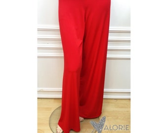 Solid Candy Red Palazzo Pants