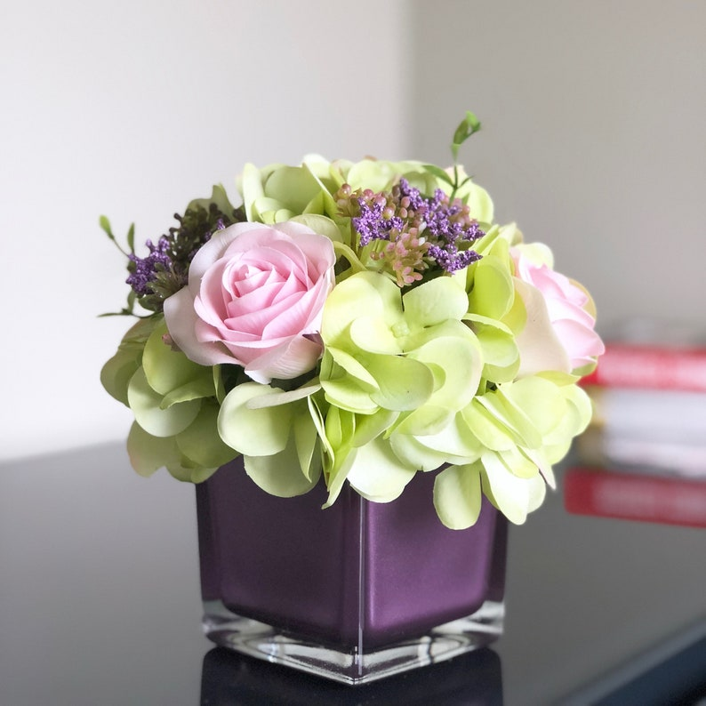 Green Hydrangea Rose Arrangement In Metallic Purple Glass Vase Etsy