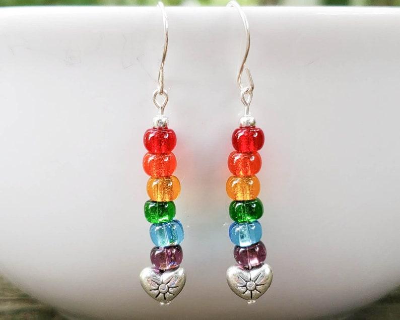 Rainbow Beaded Earrings with Tibetan Silver Heart Charm image 0