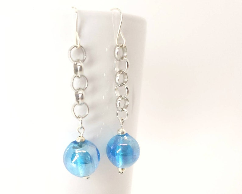 Iridescent Blue Glass Earrings image 0