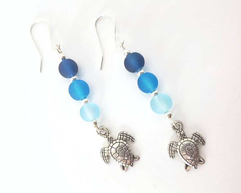 Blue Sea Glass and Silver Turtle Earrings image 0