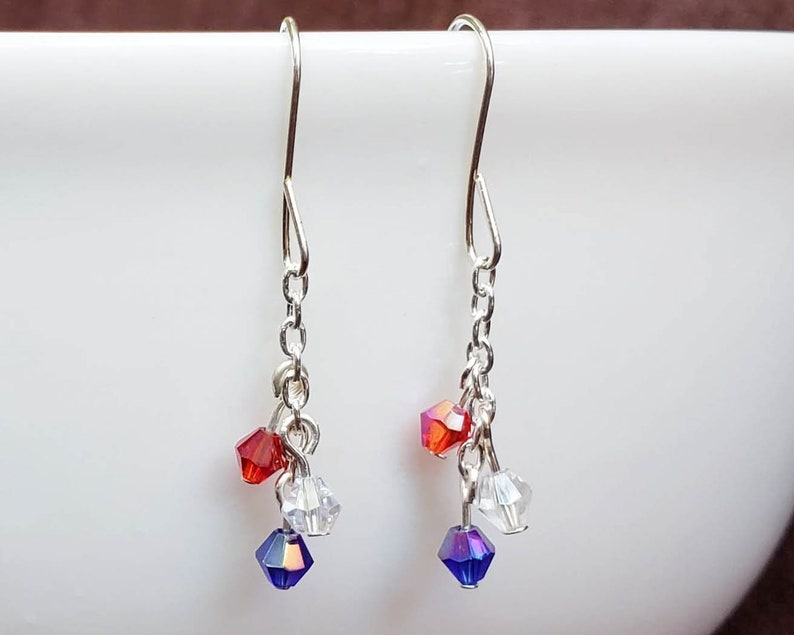 Red White and Blue Crystal Earrings image 0