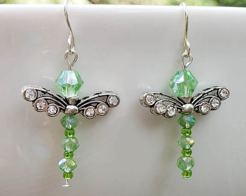 Green Crystal Dragonfly Earrings image 0