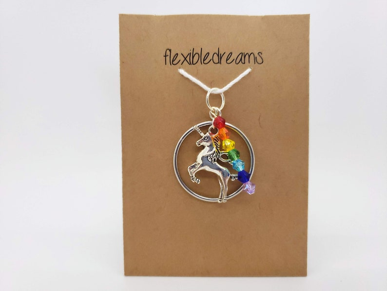 Silver Unicorn and Rainbow Crystal Pendant image 0
