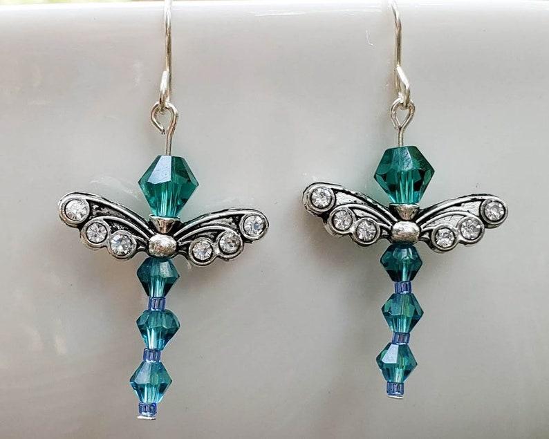 Teal Crystal Dragonfly Earrings image 0