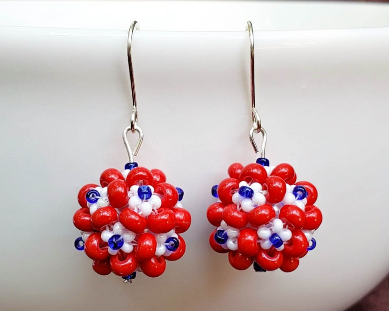 Red White and Blue Fireworks Earrings image 0