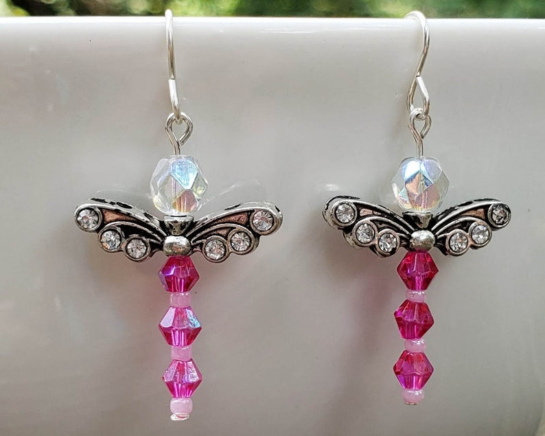 Pink Crystal Dragonfly Earrings image 0