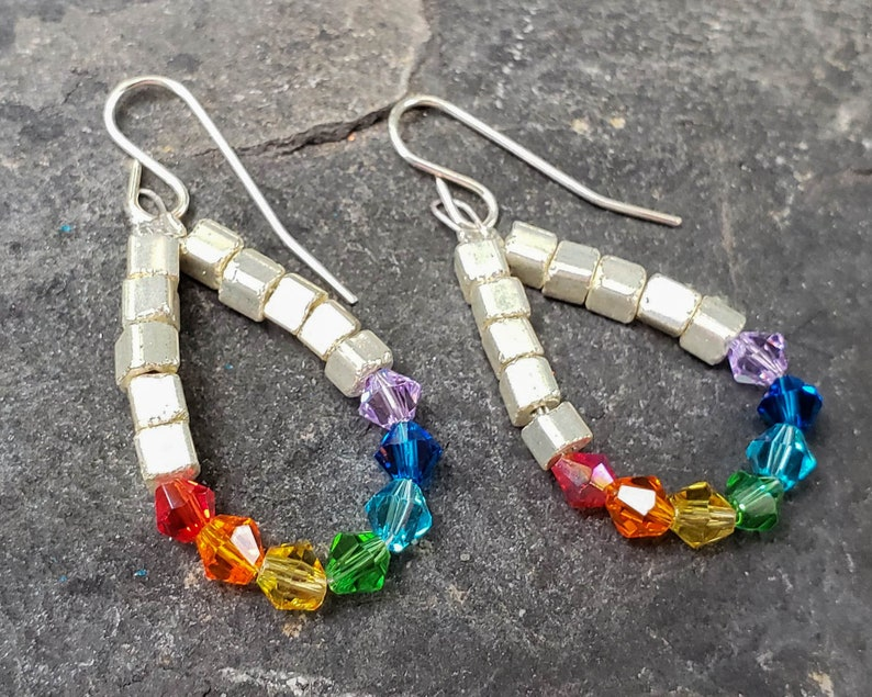 Rainbow Crystal and Silver Cube Earrings image 0