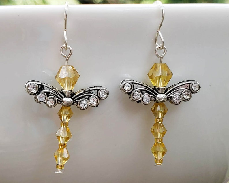 Yellow Crystal Dragonfly Earrings image 0