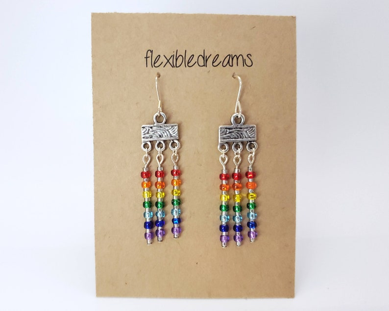Silver and Glass Rainbow Earrings image 0