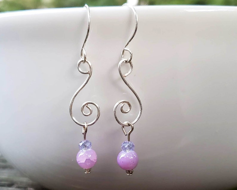 Silver Spiral with Purple Glass Bead Earrings image 0