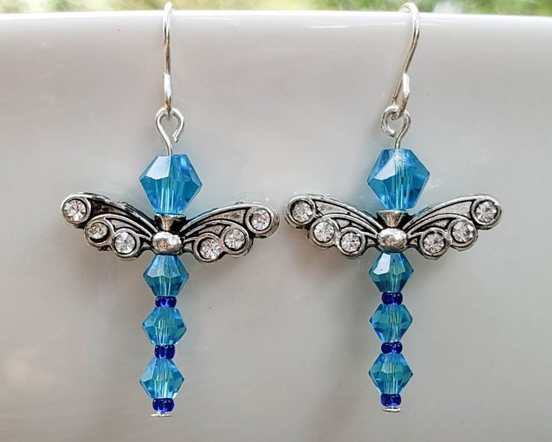 Bright Blue Crystal Dragonfly Earrings image 0