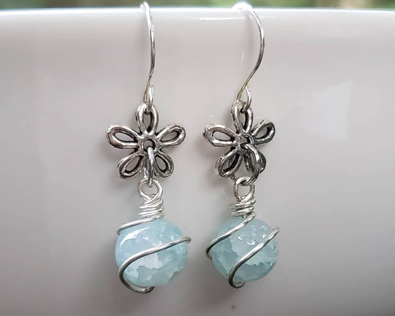 Wire Wrapped Glass Bead with Silver Flower Charm Earrings image 0