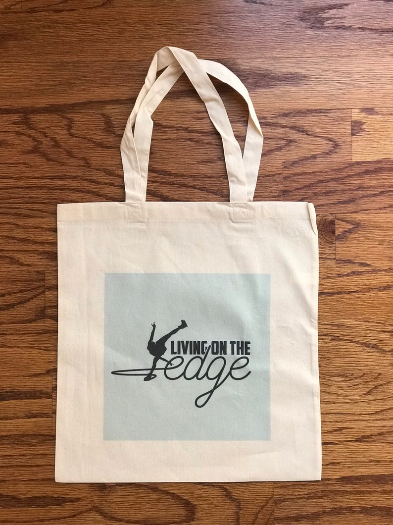 reusable bag Tote Bag for figure skaters -Living on the Edge gifts for figure skaters figure skating bag gifts for ice skaters