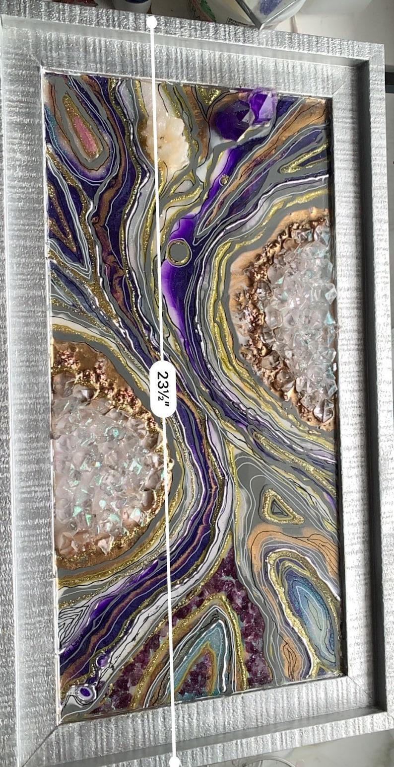Amethyst Inspired Resin Geode Wall Art