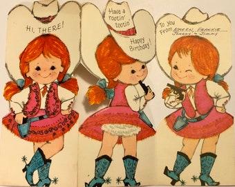 Vintage Western Cowgirl Birthday Card Boots Redhead Girl Hat Gun Pigtails 826