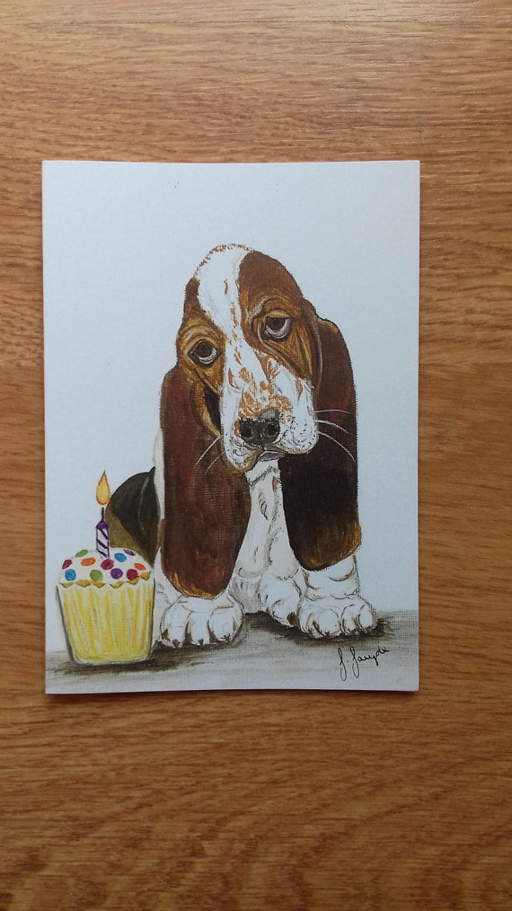 Cute Basset Hound  Christmas Cards pack of 5 by Sarah Sample Art