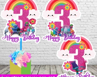 3 Trolls Centerpieces Instant Download Printable 3rd Party Supplies Birthday Decoration
