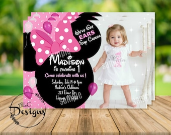 Minnie Mouse 1st Birthday Invitation With Picture Digital File Pink Red Disney Invite