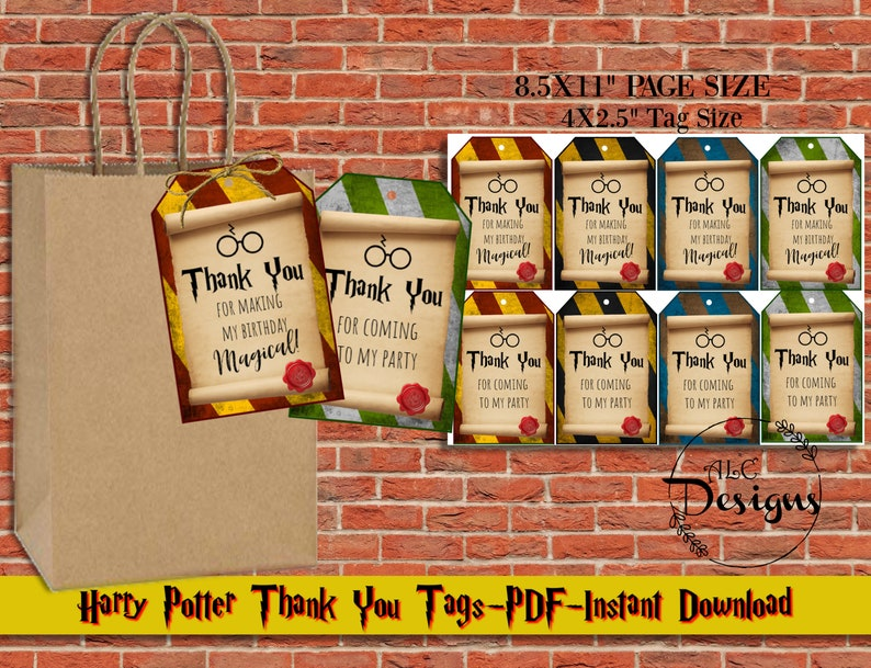 photo about Printable Harry Potter called Printable Harry Potter Encouraged Birthday Tags, Thank Yourself Tags, Harry Potter Concept Get together, Quick Down load, Wizard Get together