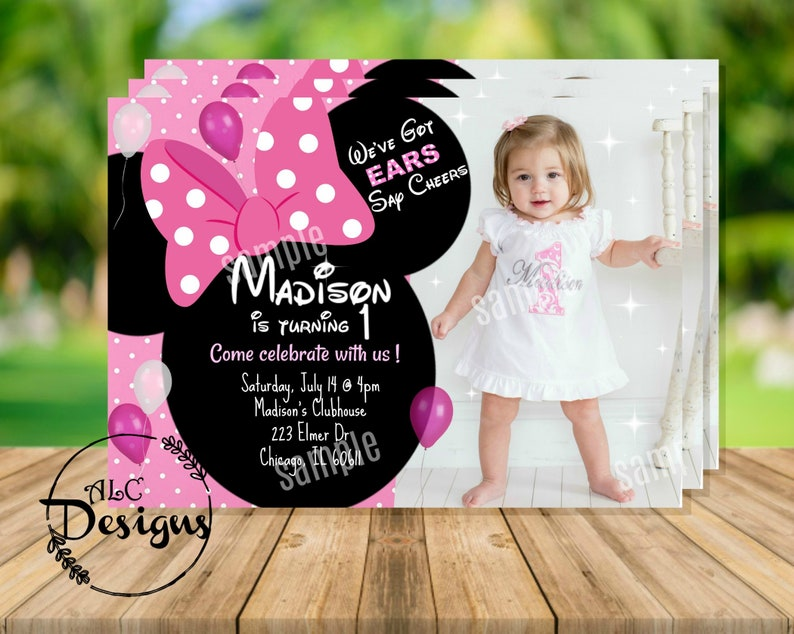 Minnie Mouse 1st Birthday Invitation With Picture Digital