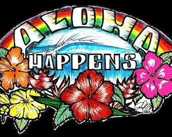 Aloha Happens Stickers