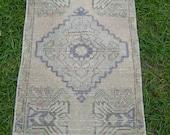 "Vintage Small Turkish Rug, Oushak Rug, Low Pile Wool Rug, Door Mat Rug, Welcome Rug, Bedside Rug, 1'8"" x 3'2"" Feet, Free Shipping!"