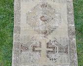 "Vintage Small Mat Rug, Entry Decor Rug, Pillow Rug, Area Rug, Vintage Rug, Turkish Yastik Rug, 1'6"" x 3"" Feet, Free Shipping!"