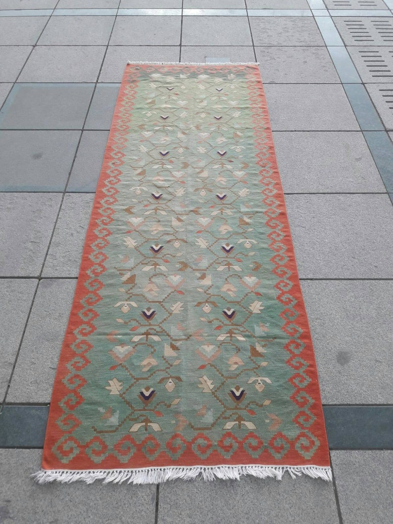 Vintage Turkish Kilim Runner Rug Green Oushak Hallway Rug image 0