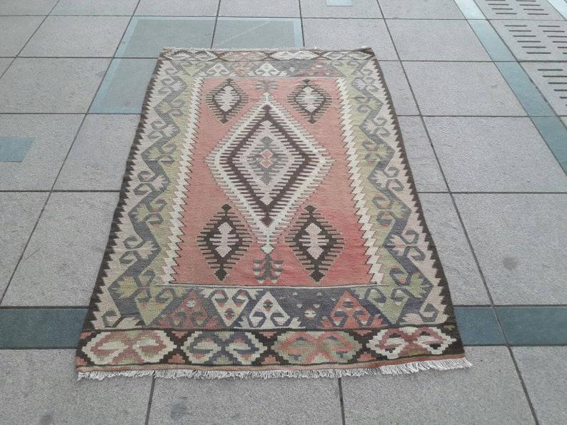 Vintage Kilim Rug Turkish Kilim Rug Handwoven Wool Rug image 0