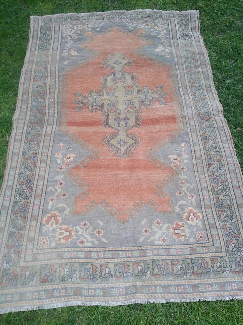 Vintage Turkish Oriental Handmade Rug Oushak Handmade Area image 0