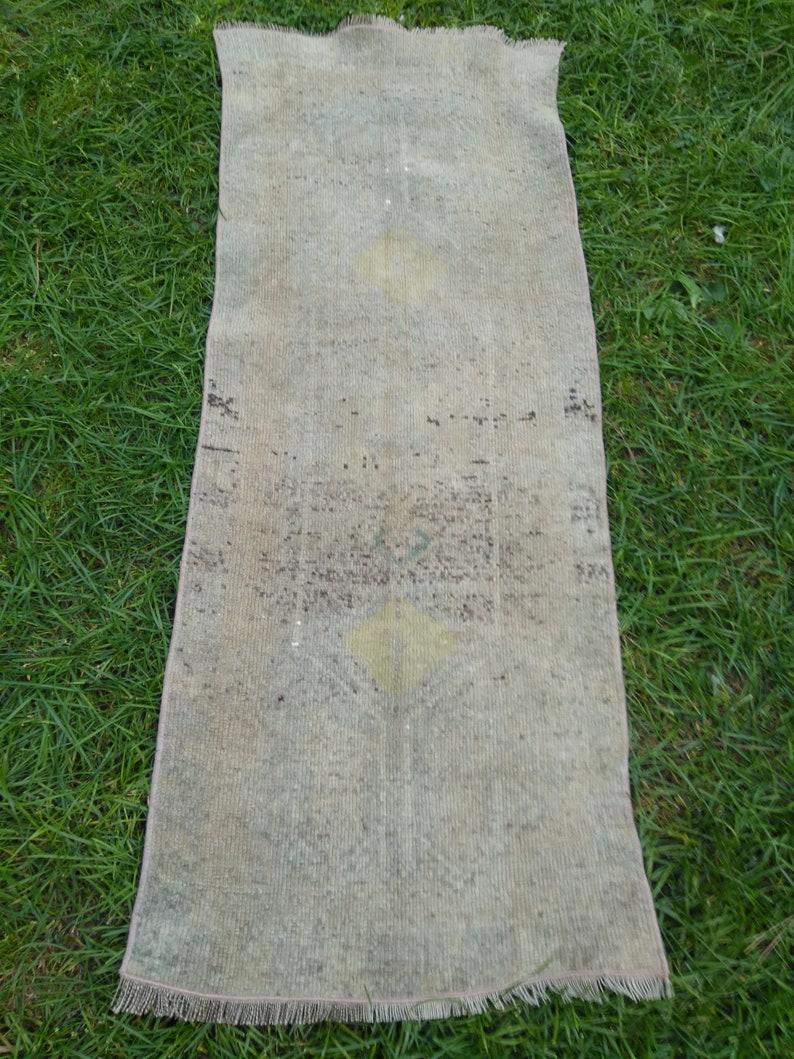 Vintage Small Turkish Rug Oushak Rug Low Pile Wool Rug Door image 0