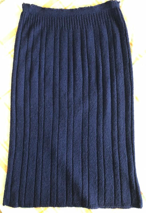 1940s Knit Dress Set Navy Blue Wool Knit Set with… - image 6