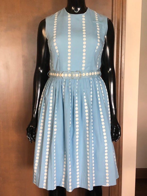1960s Dress Cotten Sundress with Pleated Skirt