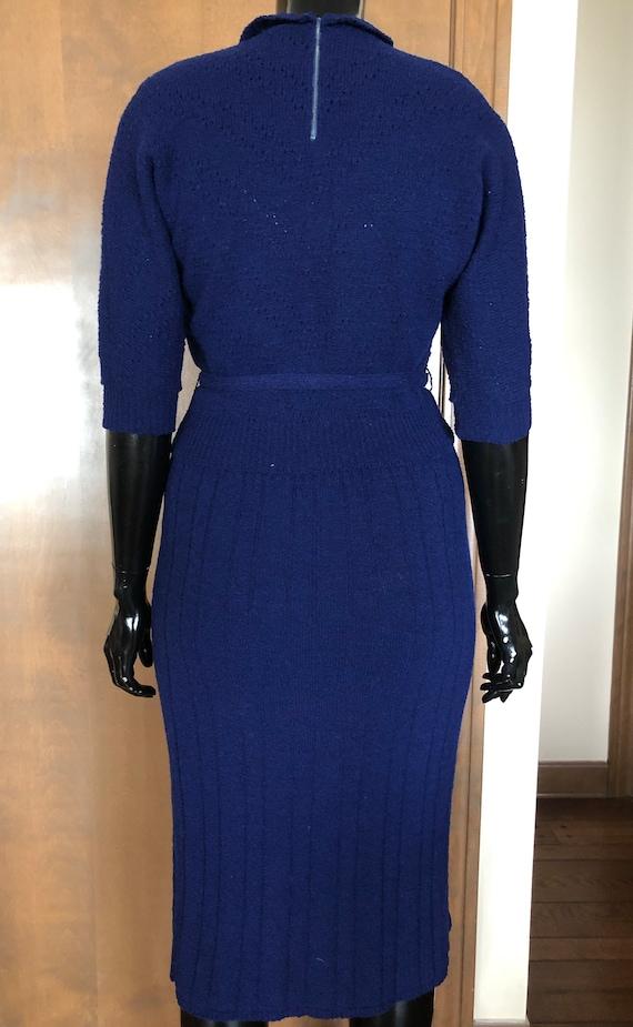 1940s Knit Dress Set Navy Blue Wool Knit Set with… - image 3