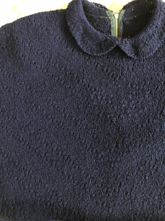 1940s Knit Dress Set Navy Blue Wool Knit Set with… - image 5